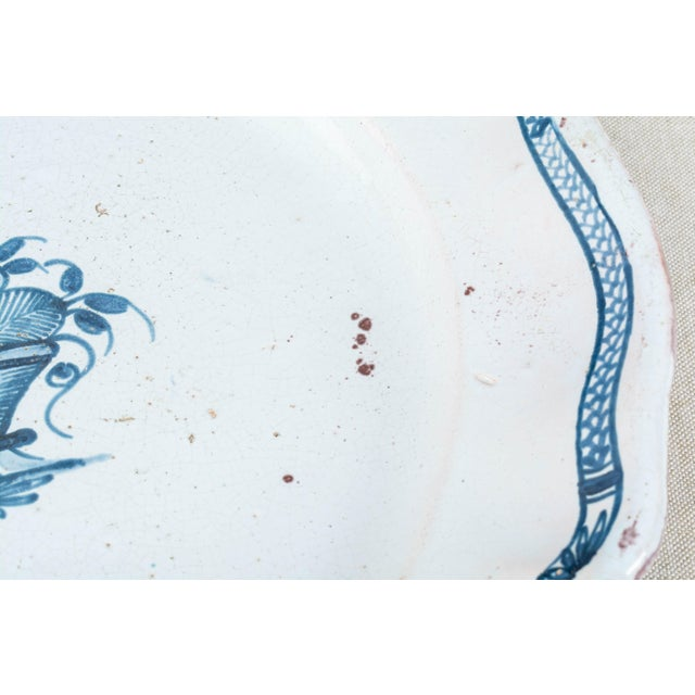 Blue 18th Century French Rouen Ceramic Platter For Sale - Image 8 of 9
