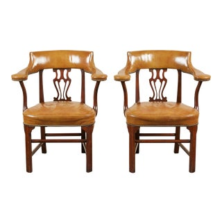 Pair of Mid-20th Century American Mahogany and Leather Armchairs For Sale