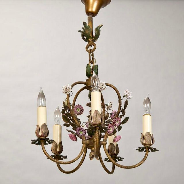 French Five-Light Brass Chandelier With Porcelain Flowers - Image 3 of 6