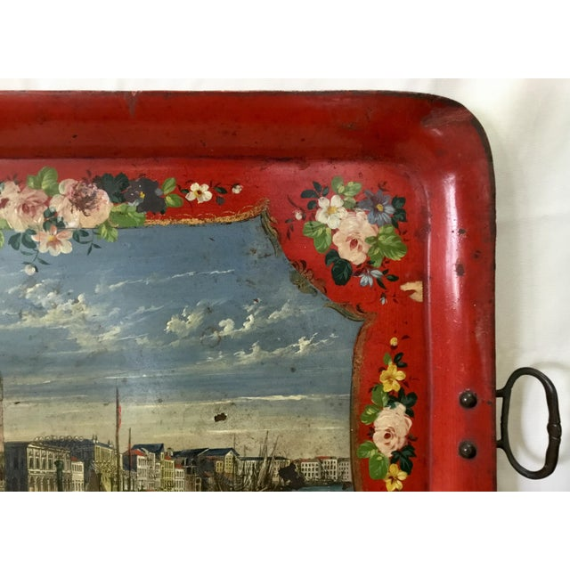 19th Century Tole Tray Featuring a Hand Painted Italian Scene For Sale In Los Angeles - Image 6 of 13