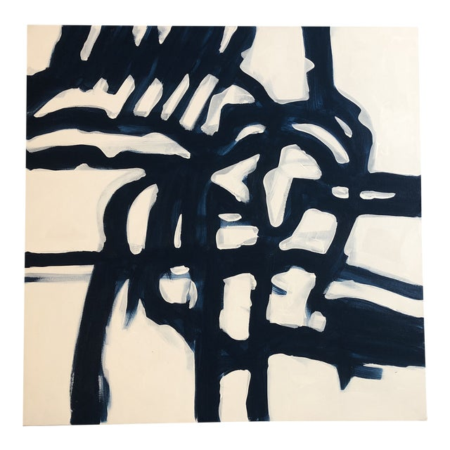 Original Contemporary Wayne Cunningham 36 X 36 Blue & White Abstract Painting For Sale