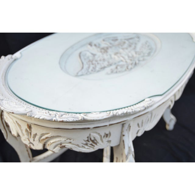 Vintage White Cottage Chic Coffee Table - Image 4 of 4