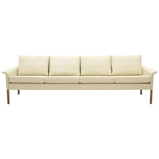 Four-Seat Sofa by Hans Olsen, White/ Ivory Leather With Rosewood Legs, Perfect For Sale