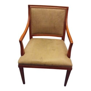 Hickory Chair Company Mahogany & Leather Occasional Chair For Sale