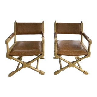 1960s Vintage Faux Bamboo Arm Chairs- A Pair For Sale