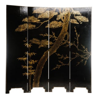 Chinoiserie Lawrence & Scott Four Panel Double-Sided Water Buffalo Leather Room Dividing Screen For Sale