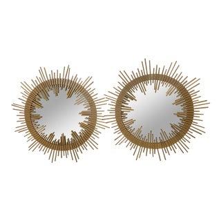 Mid-Century Modern Italian Gilt Iron Sunburst Mirrors -Pair For Sale
