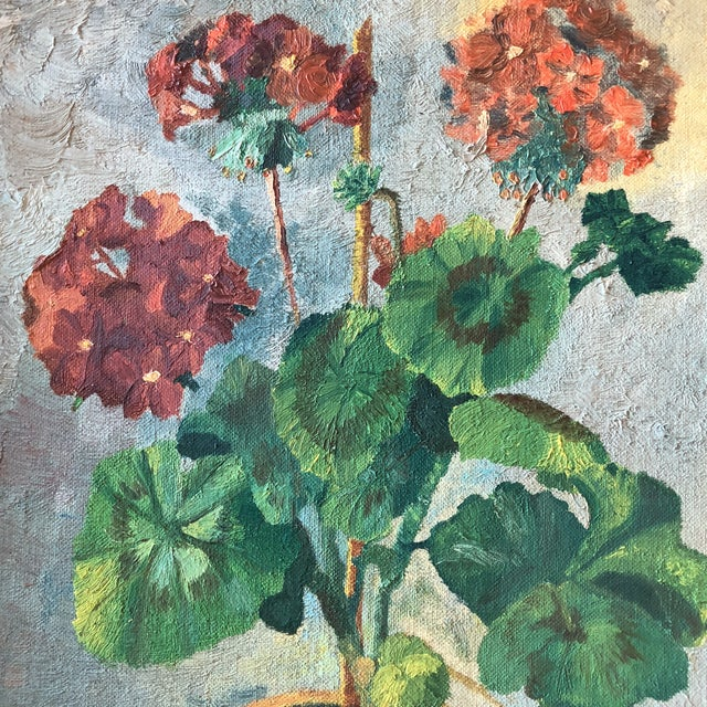 Expressionism Original Vintage Mid Century Geranium Still Life Painting For Sale - Image 3 of 7