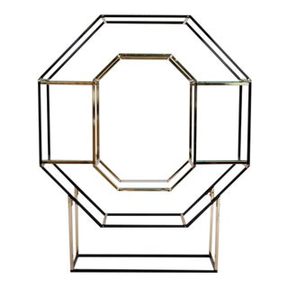 Brass & Black Octagon Etagere
