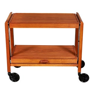 1960s Teak Expandable Rolling Cart For Sale