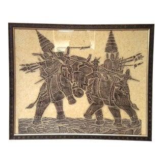 Vintage Framed Southeast-Asian Woodblock Print of War Elephants For Sale