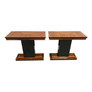 1940s French Art Deco Exotic Macassar Console Tables - a Pair For Sale