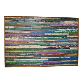 Salvaged Boat Wood Colorful Wall Art For Sale