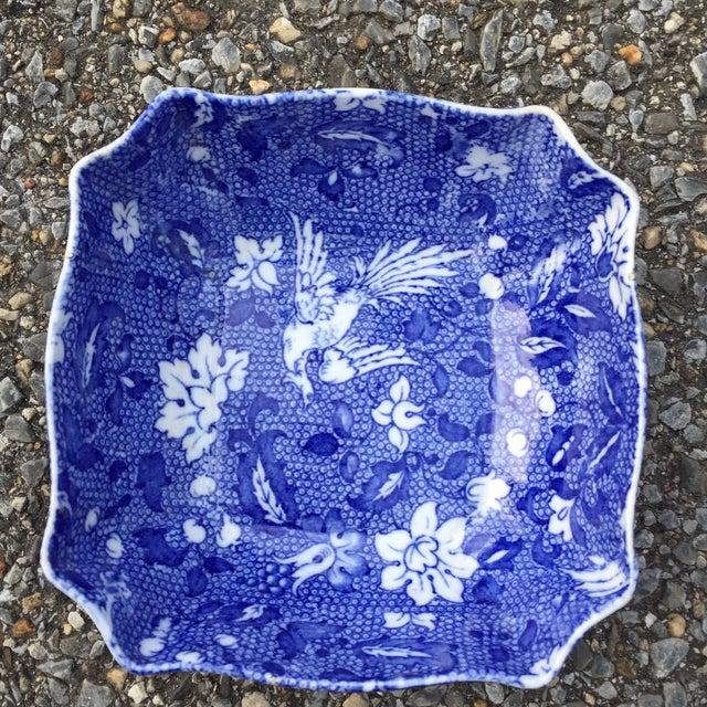 Vintage Blue Transferware Chintz Bird Bowl For Sale - Image 5 of 9