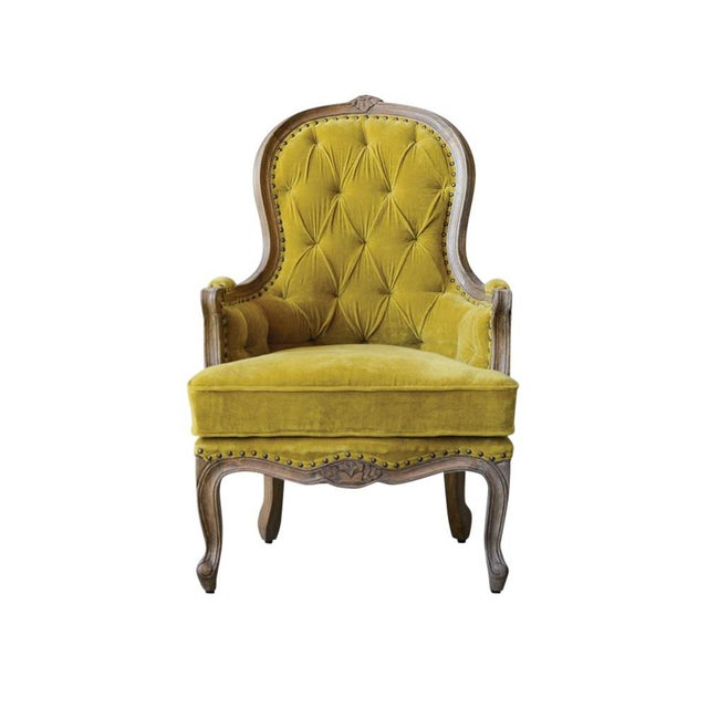 2010s French Style Chartreuse Velvet Classic Armchair For Sale - Image 5 of 5