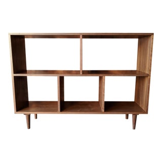 Custom Mid Century Style Walnut Book Record Shelf For Sale