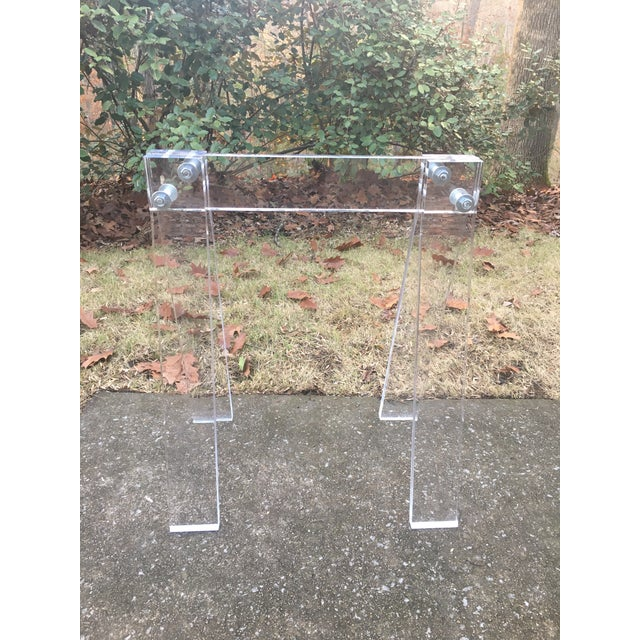 Mid Century Lucite Blanket Rack Saw Horse For Sale - Image 12 of 13