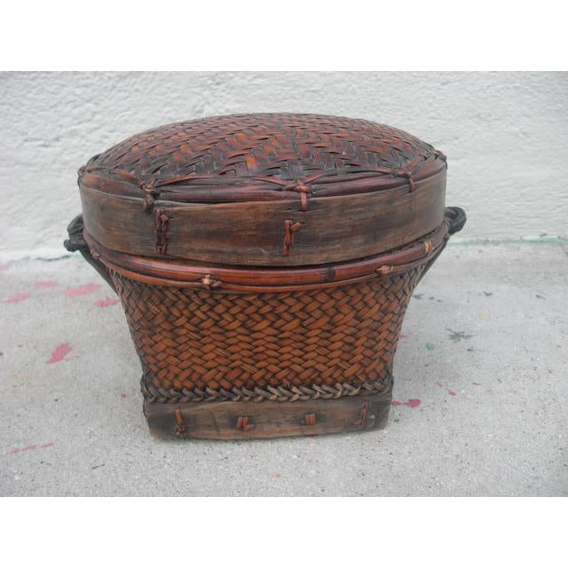 Asian Early 20th Century Antique Lidded Rice Basket For Sale - Image 3 of 7
