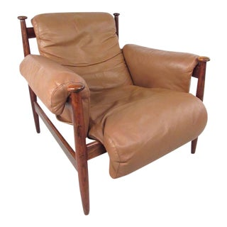 Scandinavian Modern Rosewood and Leather Amiral Lounge Chair by Ire Mobler