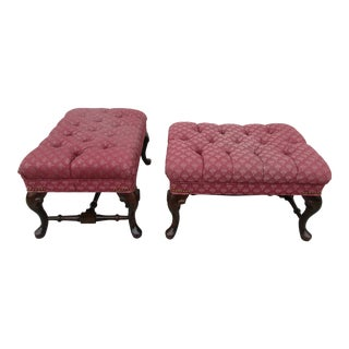 Vintage Mid Century Queen Anne Style Upholstered Footstools - A Pair For Sale