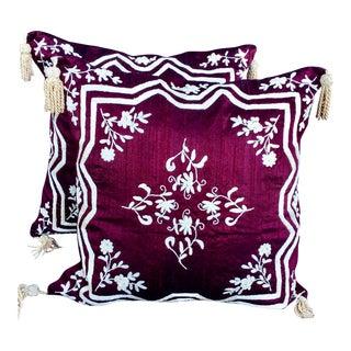 Embroidered Silk Dori Pillows - A Pair For Sale
