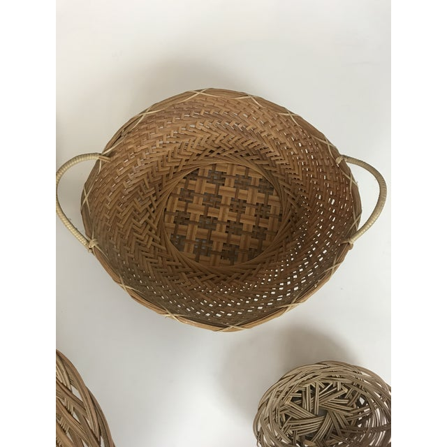 1970s Wicker Wall Hanging Baskets - Set of 5 For Sale - Image 5 of 8