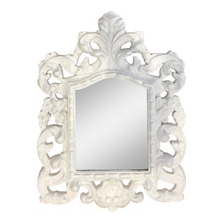 Antique Mid Century Rococo Dorothy Draper Style Carved Polychrome White Mirror For Sale