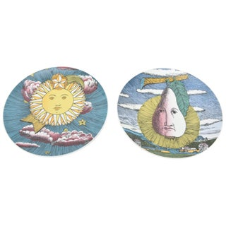 Piero Fornasetti for Rosenthal Porcelain Mesi and Soli Painted Plates - a Pair For Sale