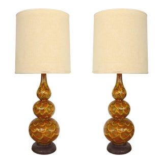 Mid-Century Modern Glazed Ceramic Table Lamps - a Pair For Sale