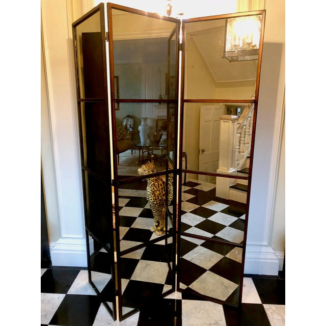 3-Panel Mirrored Floor Screen | Chairish