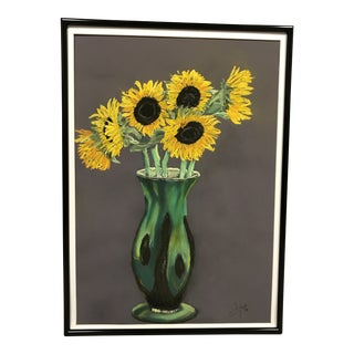 Original Sunflower Pastel Drawing For Sale