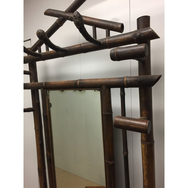 Late 19th Century Antique French Faux Bamboo Mirrored Coat Rack For Sale - Image 4 of 9