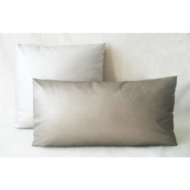 Contemporary Dark Gold Faux Leather Lumbar Pillow For Sale - Image 3 of 3