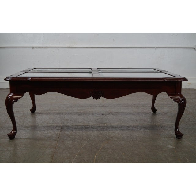Traditional Coffee Tables Ethan Allen: Ethan Allen Georgian Court Cherry Queen Anne Glass Top