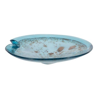 Mid-Century Modern Powder Blue Handblown Murano Glass Bowl with Gold Iridescence For Sale