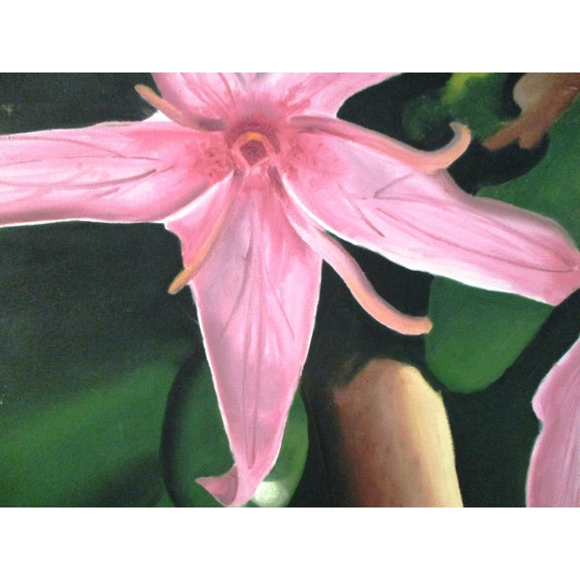 "Vibrant oil on stretched canvas painting of a pink Stargazer. Unframed, signed en verso ""Jessie Jenkins."""