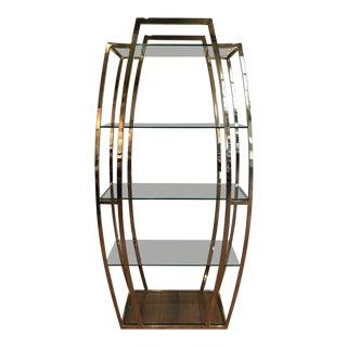 1970s Mid-Century Modern Brass and Glass Etagere For Sale