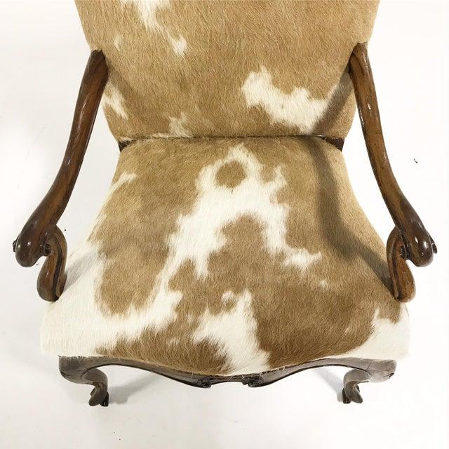 1770s Antique Italian Walnut Armchair Restored in Brazilian Cowhide - Image 9 of 10