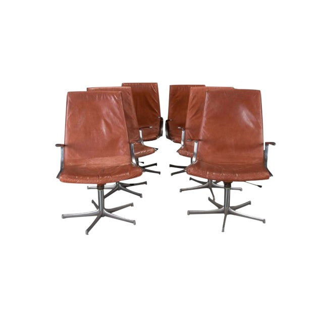 Armchairs in Chrome and Cognac Leather by Walter Knoll- Set of 6 For Sale