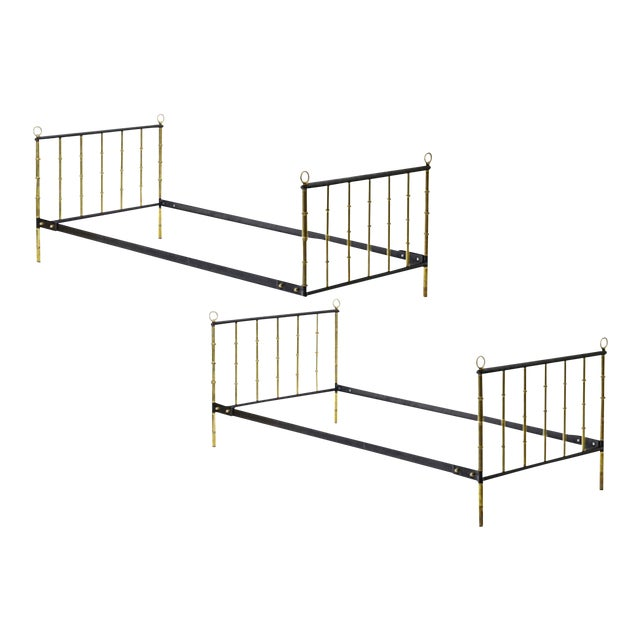 Jacques Adnet Stunning Pair Black Hand Stitched Good Vintage Condition Day Bed For Sale