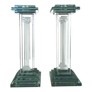 1980s Post Modern Ionic Column Glass Candlesticks - a Pair For Sale