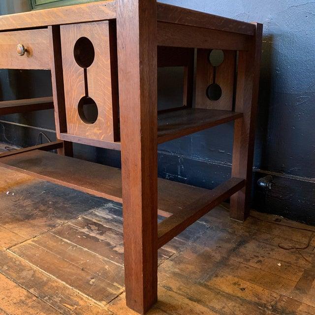 Folk Art 1930s Wood Craftsman Desk For Sale - Image 3 of 9