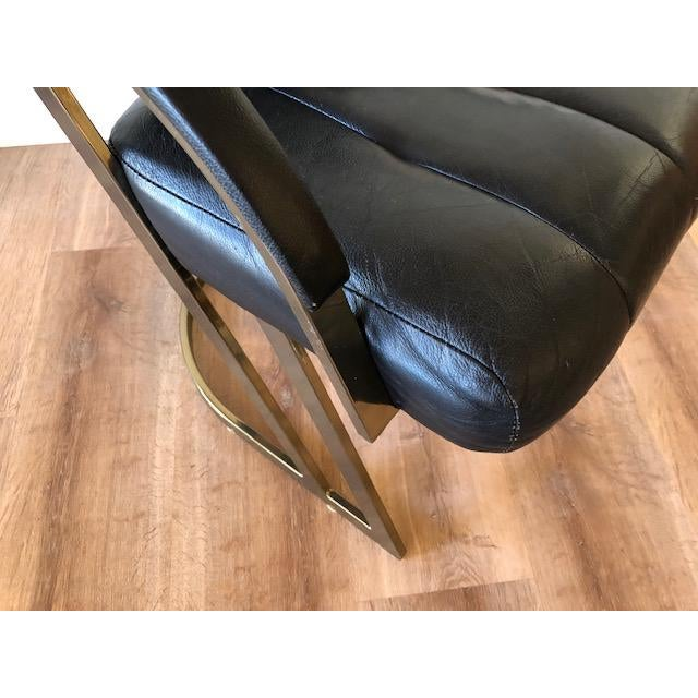 Black Cal-Style Vintage Modern Polished Chrome and Leather Cantilevered Dining Chairs- Set of 4 For Sale - Image 8 of 10