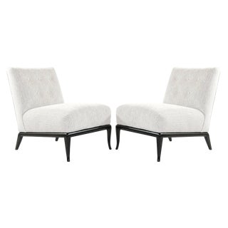 Grey Chenille Slipper Chairs by t.h. Robsjohn-Gibbings - a Pair For Sale