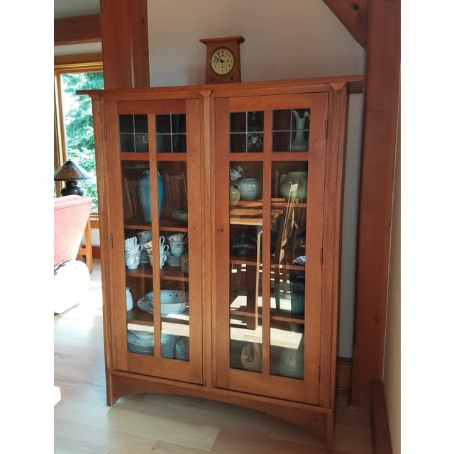 Stickley Double Door bookcase in solid Cherry with leaded glass. Re-issue of an original by Gustav Stickley's Craftsman...