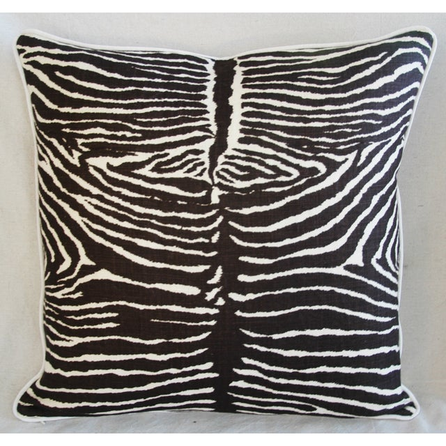 "Brunschwig & Fils 23"" Custom Tailored Brunschwig & Fils Zebra Feather/Down Pillows - Pair For Sale - Image 4 of 12"
