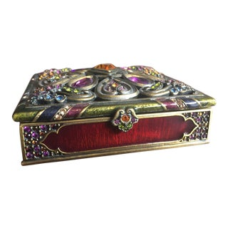 Jay Strongwater Arabesque Swarovski Jewel Box Jewelry Trinket For Sale