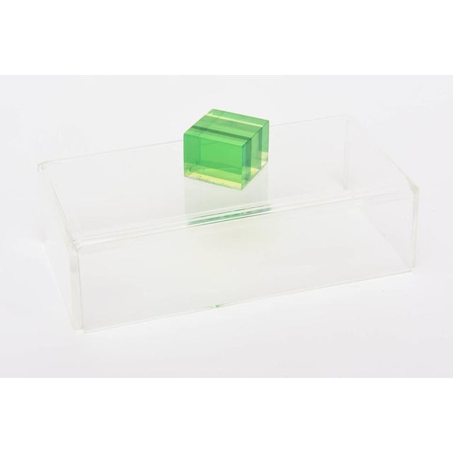 Yellow Charles Hollis Jones Style Colored Lucite Two Part Box For Sale - Image 8 of 9