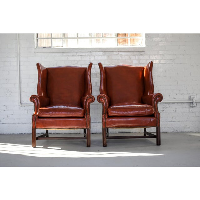 Georgian Vintage Marbled Red Leather Georgian H-Base Wingback Fireside Chairs - Pair For Sale - Image 3 of 13
