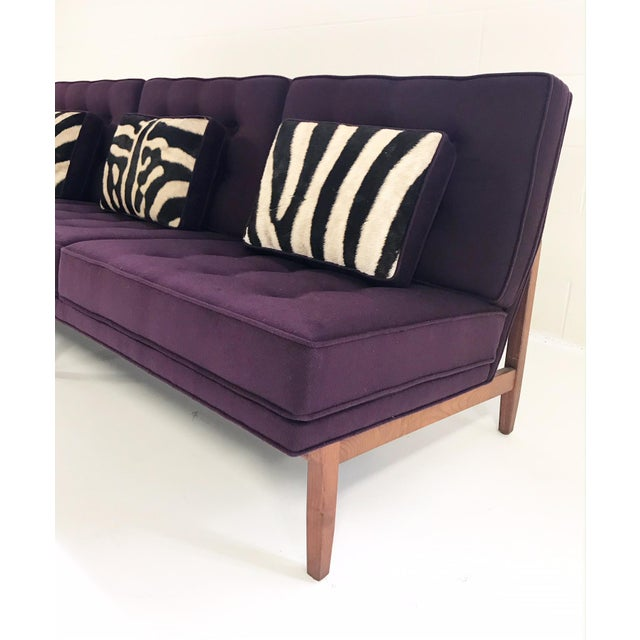 Mid 20th Century Forsyth Vintage Florence Knoll Sofa Restored in Loro Piana Cashmere With Custom Zebra Hide Pillows For Sale - Image 5 of 13